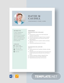 Convenience Store Clerk Resume Template