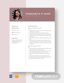 Convention Manager Resume Template