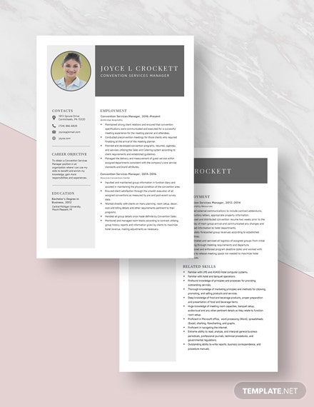 Convention Services Manager Resume  Download