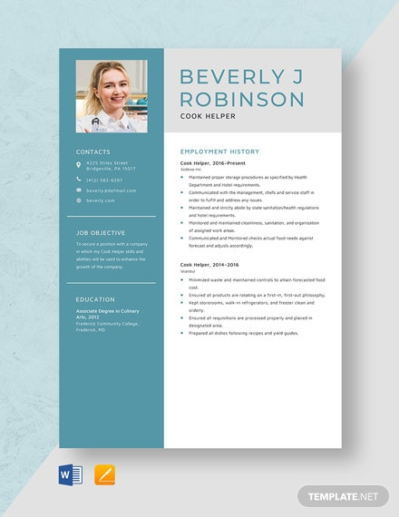 Cook Helper Resume Template