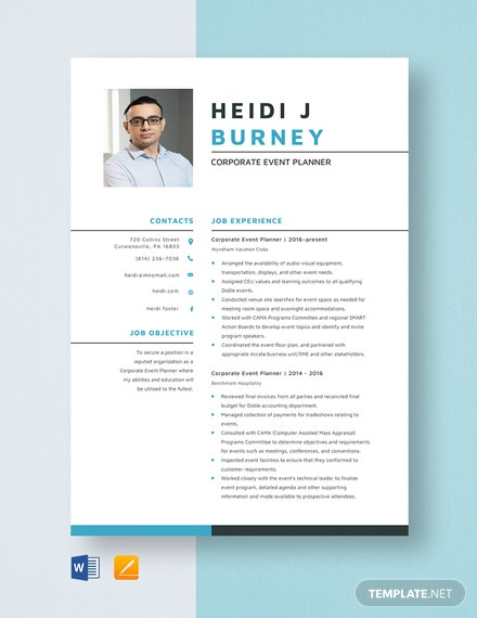 Corporate Event Planner Resume Template