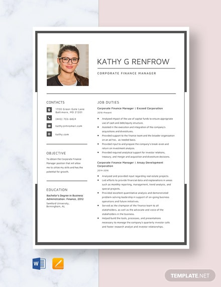 Corporate Finance Manager Resume Template