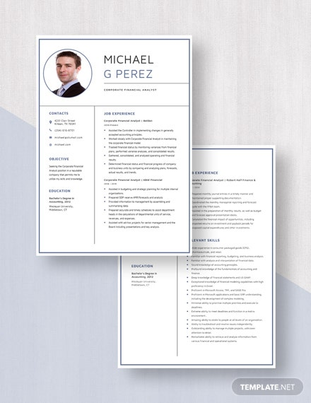 Corporate Financial Analyst Resume  Download