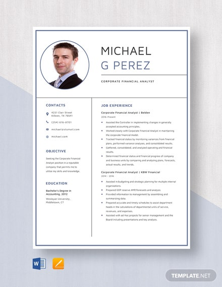 Corporate Financial Analyst Resume Template