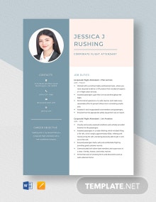 Corporate Flight Attendant Resume Template