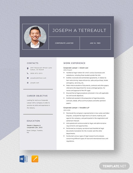 Corporate Lawyer Resume Template