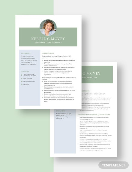Corporate Legal Secretary Resume Template Download 2148 Resumes In