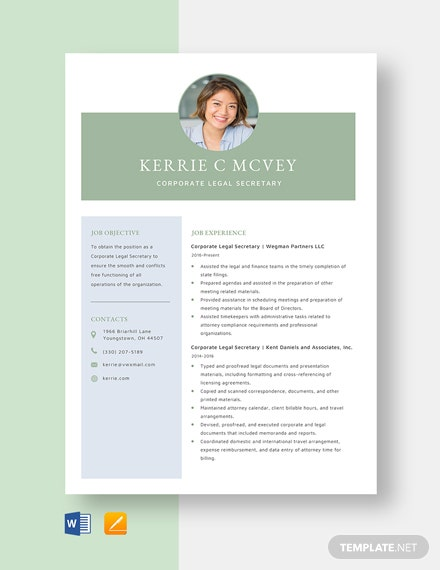 Corporate Legal Secretary Resume Template