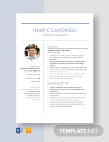 Corporate Librarian Resume Template