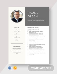 Corporate Meeting Planner Resume Template