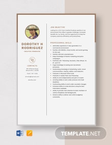 Creative Producer Resume Template
