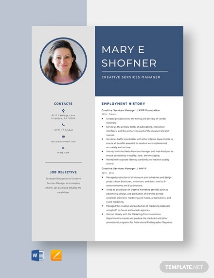 Creative Services Manager Resume Template