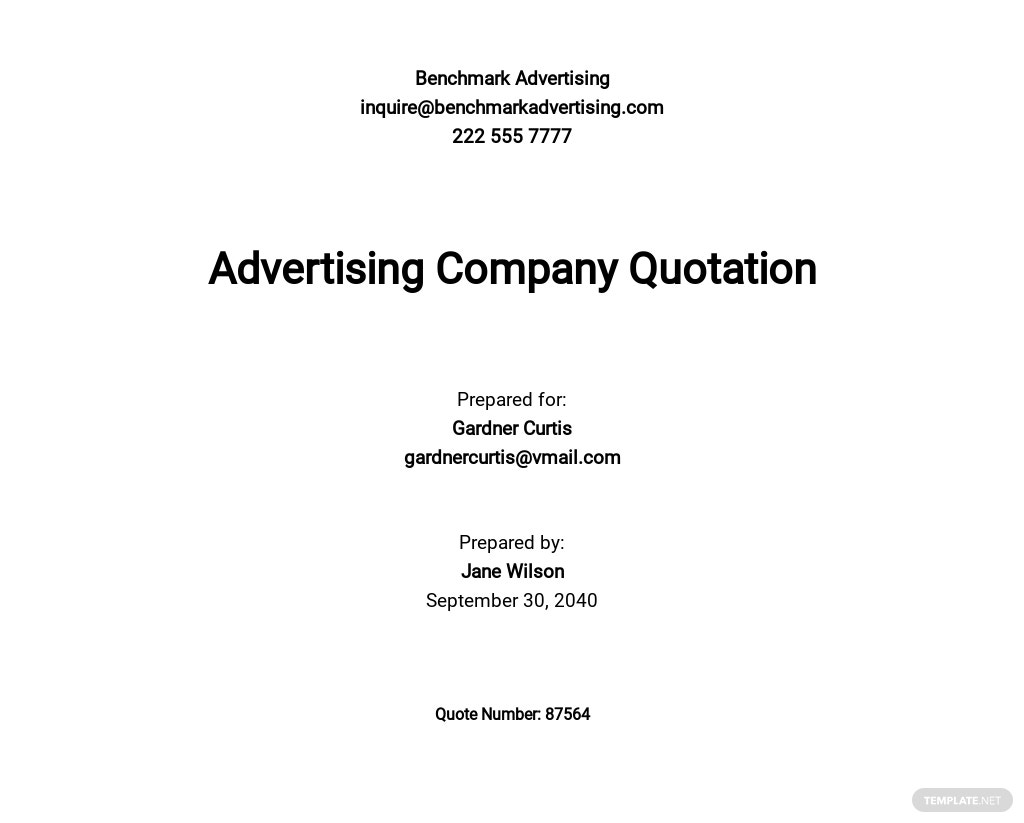 Free Advertising Company Quotation Template