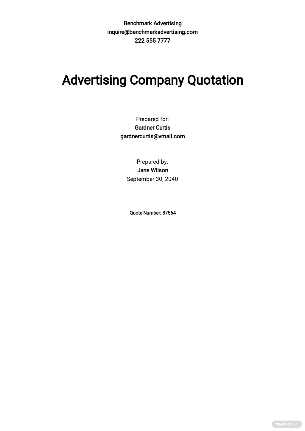 Advertising Company Quotation Template