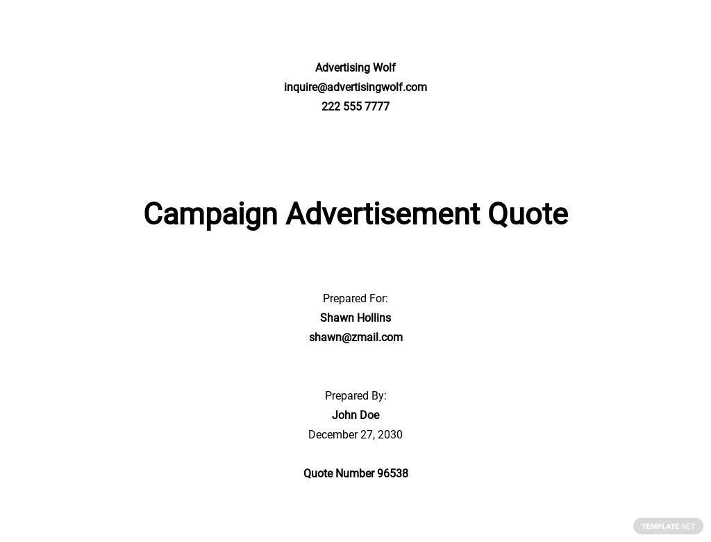 Free Advertising Services Quotation Template