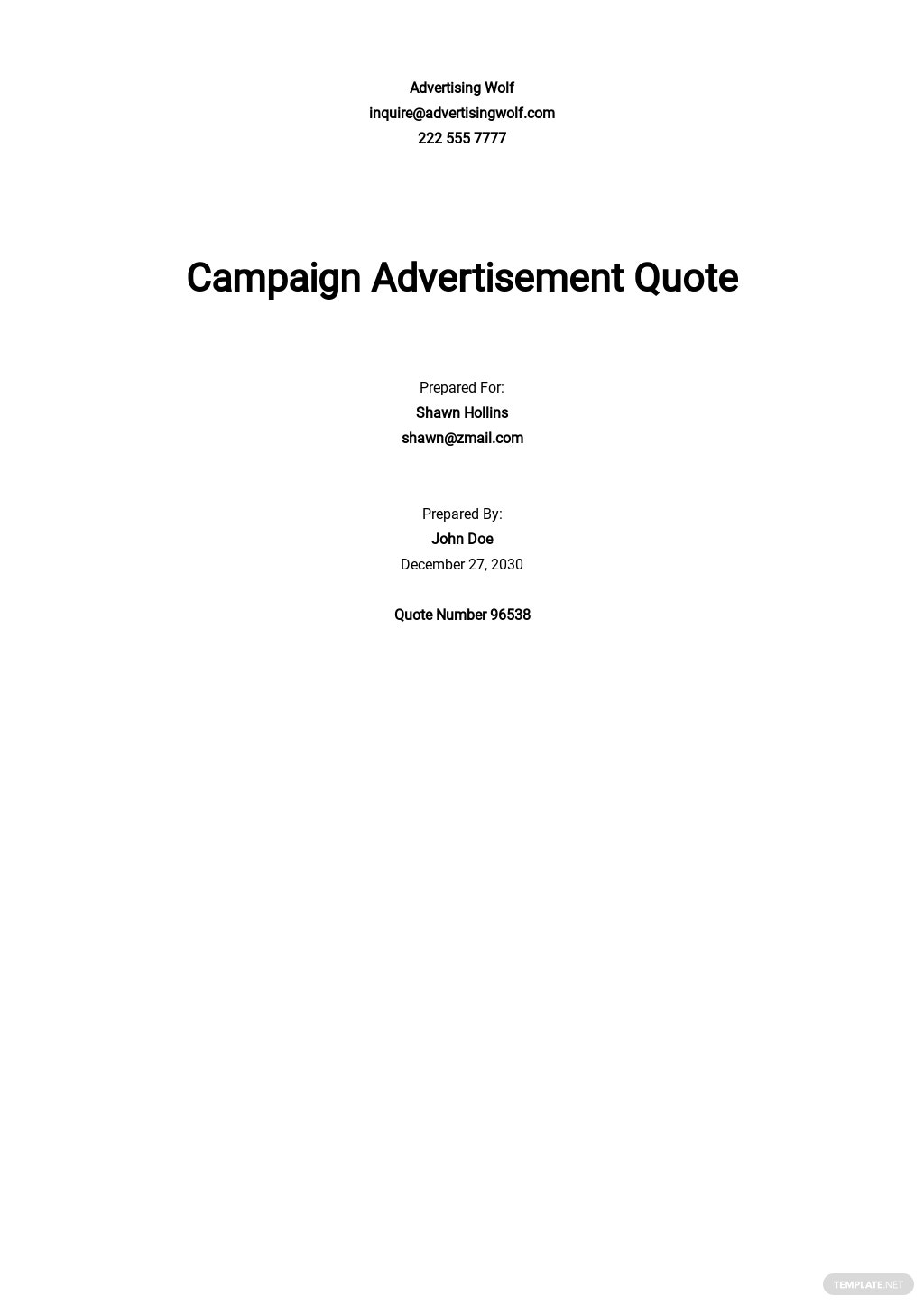 Advertising Services Quotation Template