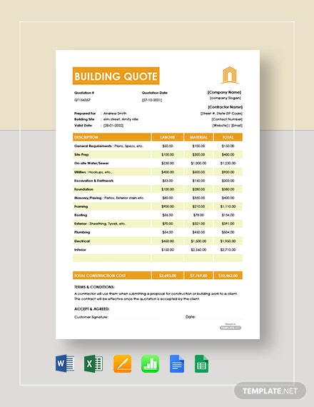 Free Building Quote Template