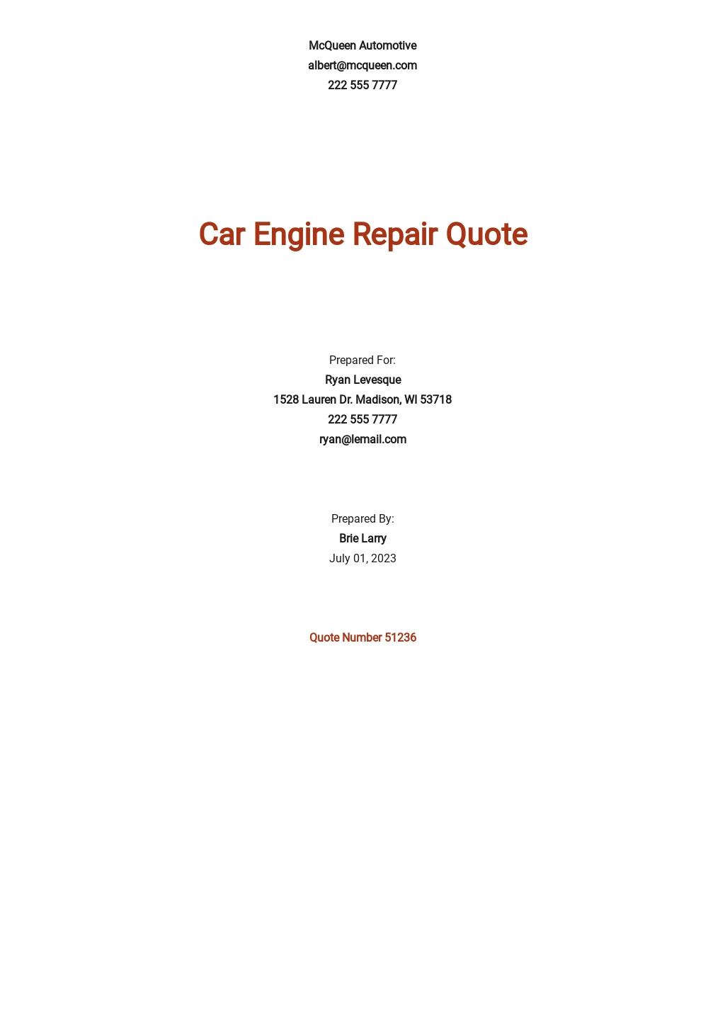 Car Repair Quotation Template