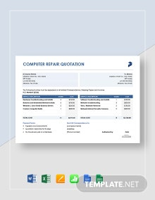 Free Computer Repair Quotation Template