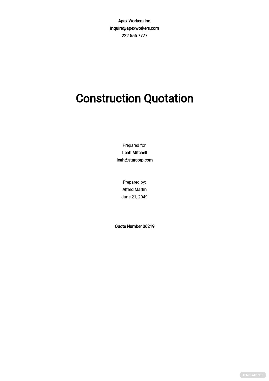 Construction Company Quotation Template