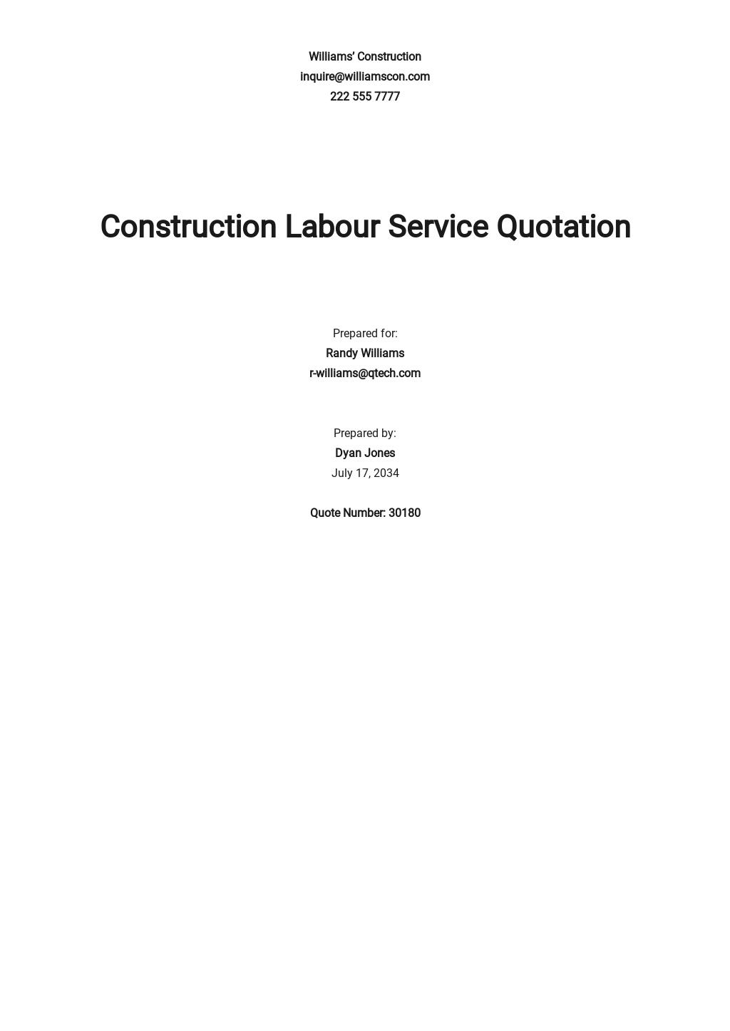 Construction Labour Quotation Template