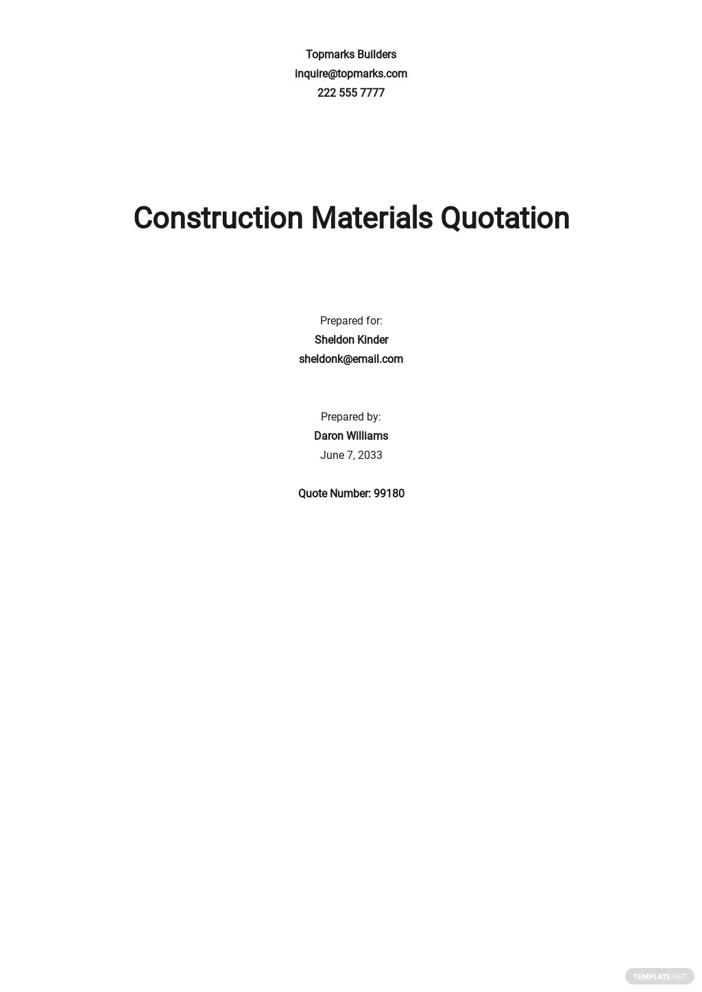 Construction Material Quotation Template
