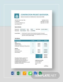 Free Construction Project Quotation Template