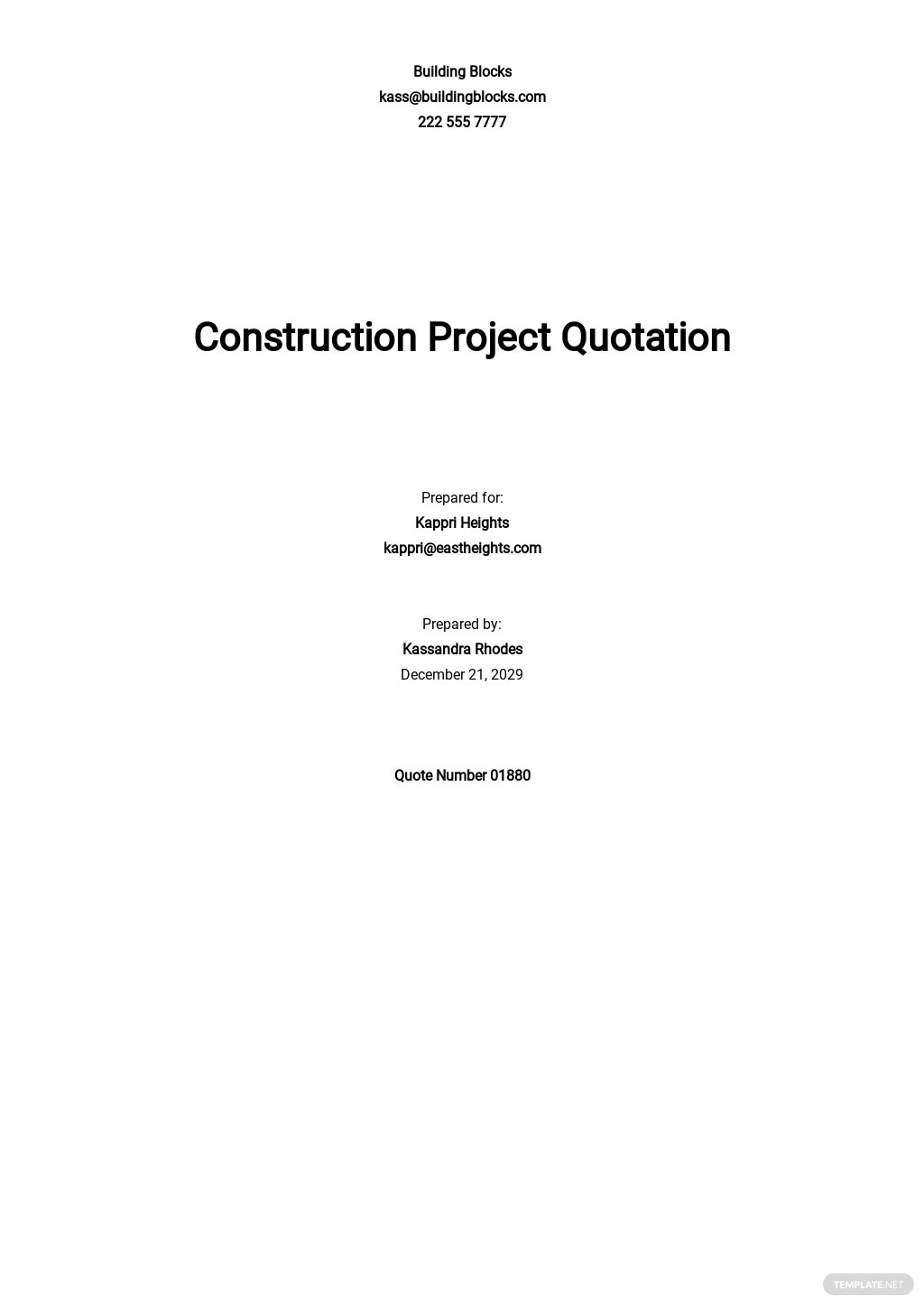 Construction Project Quotation Template