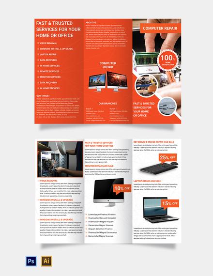 Free Computer Repair A3 Brochure Template