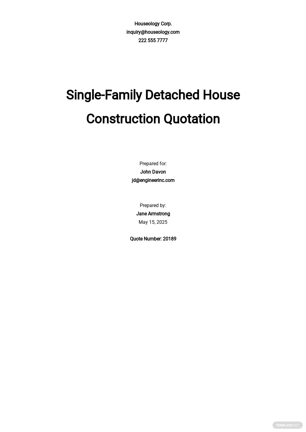 House Construction Quotation Template