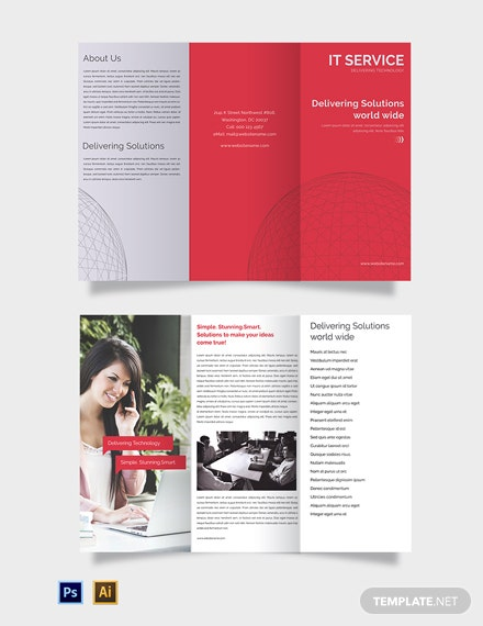 Free IT Service Tri-Fold Brochure Template