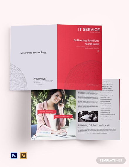 Free IT Service Bi-Fold Brochure Template