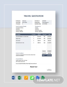 Free Sample Travel Quotation Template