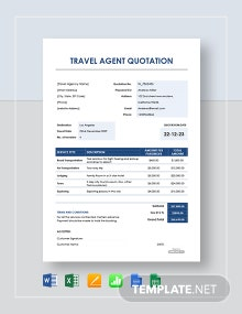 Free Travel agent Quotation Template