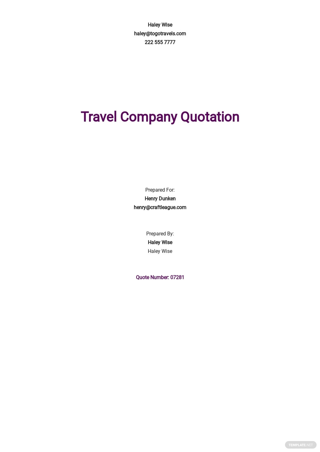 Travel Company Quotation Template