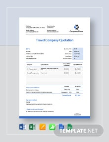 Free Travel Company Quotation Template