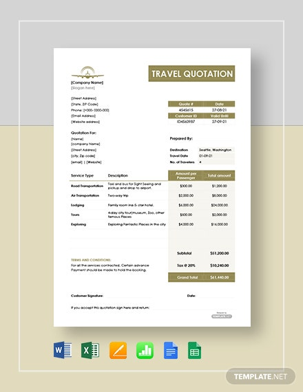 Travel Quotation Template