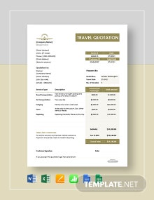 Free Travel Quotation Template