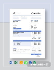 Free Vehicle Repair Quotation Template