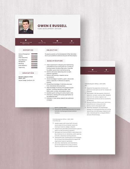 Fund Development Officer Resume Download