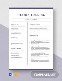 Fund Manager Resume Template