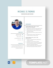 Furniture Delivery Driver Resume Template