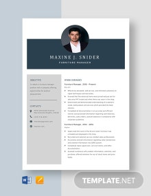 Furniture Manager Resume Template