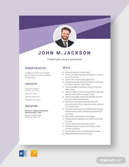 Furniture Sales Manager Resume Template