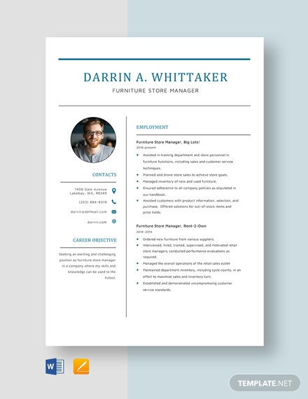 Furniture Store Manager Resume Template