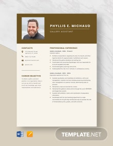 Gallery Assistant Resume Template