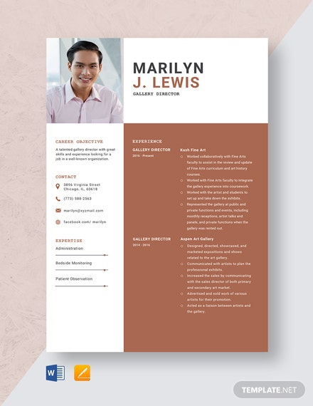 Gallery Director Resume Template