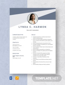 Gallery Manager Resume Template