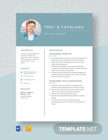 Gift Shop Manager Resume Template