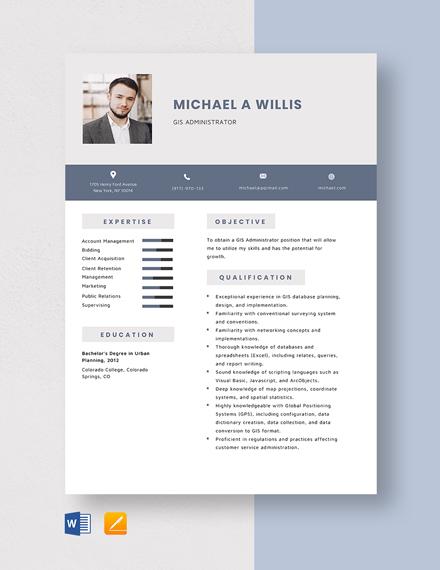 GIS Administrator Resume Template